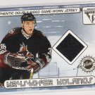 2001-02 PRIVATE STOCK TITANIUM KOLANOS/LANGKOW DOUBLE SIDED GAME WORN JERSEY CARD