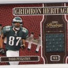 2005 PLAYOFF PRESTIGE GRIDIRON HERITAGE TODD PINKSON EAGLES GAME WORN JERSEY CARD
