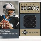 2002 UPPER DECK CHRIS WEINKE PANTHERS NATIONAL HONOR JERSEY CARD