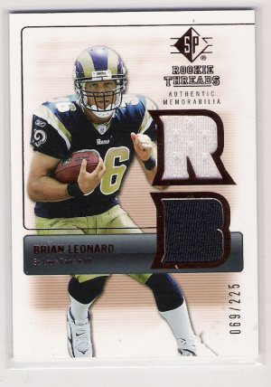 2007 SP ROOKIE THREADS BRIAN LEANARD RAMS DUAL JERSEY CARD