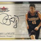 2000-01 FLEER RAEF LAFRENTZ NUGGETS AUTOGRAPHICS SIGNATURE CARD