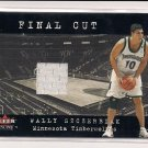 2001-02 GLEER GENUINE WALLY SZCZERBIAK TIMBERWOLVES FINAL CUT JERSEY CARD