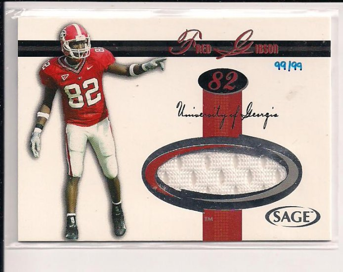 2005 SAGE FRED GIBSON JERSEY RED ROOKIE CARD #'D 99/99!