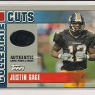 2003 TOPPS DRAFT PICK JUSTIN GAGE COLLEGIATE CUTS JERSEY CARD
