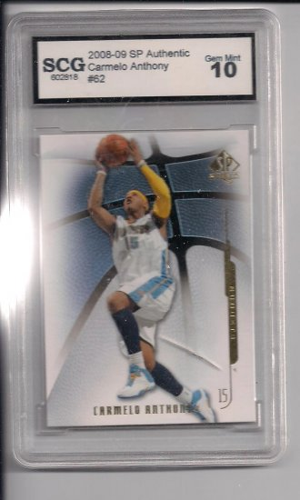 2008-09 SP AUTHENTIC CARMELO ANTHONY NUGGETS CARD GRADED SCG10!