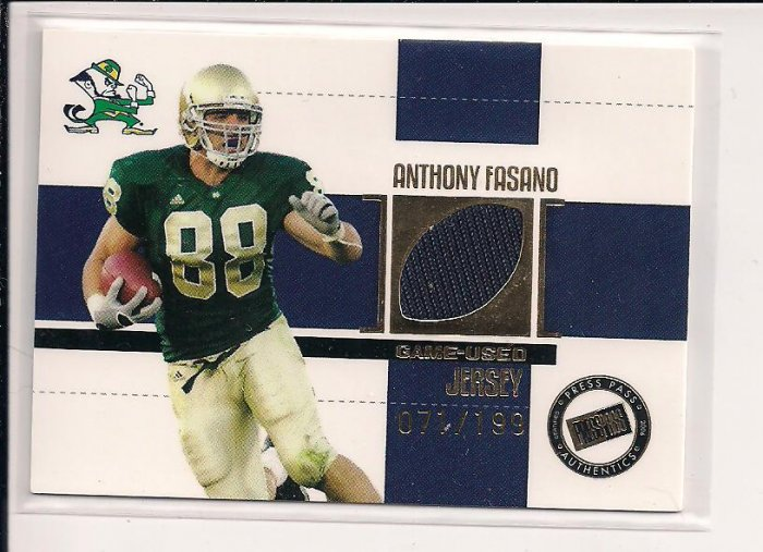 2006 PRESSPASS ANTHONY FASANO DOLPHINS ROOKIE JERSEY #'D 071/199!
