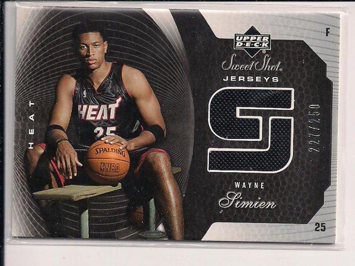 2005-06 UPPER DECK SWEET SHOT WAYNE SIMIEN HEAT JERSEY CARD #'D 227/250!