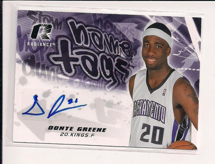 2008-09 UPPER DECK RADIANCE DONTE GREENE KINGS NAME TAGS  AUTOGRAPHED CARD