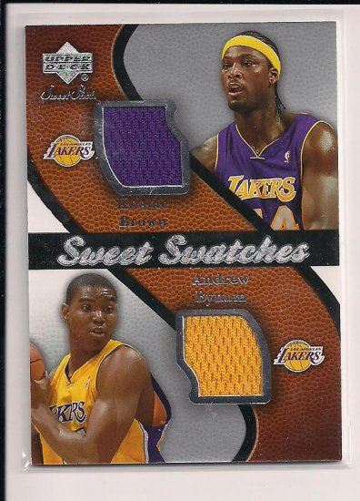 2007-08 UPPER DECK KWAME BROWN/ANDREW BYNUM LAKERS SWEET SWATCHES DUAL JERSEY CARD