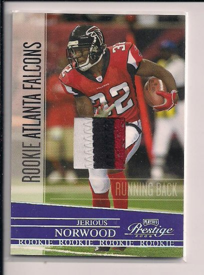 JERIOUS NORWOOD FALCONS 2008 PLAYOFF PRESTIGE ROOKIE JERSEY CARD THREE COLORS #'D 031/100!!!