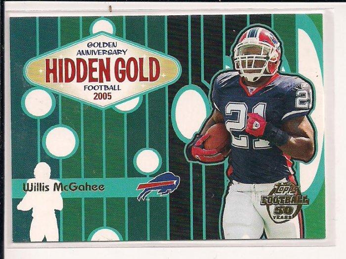 WILLIS MCGAHEE 2005 TOPPS ANNIVERSARY HIDDEN GOLD CARD