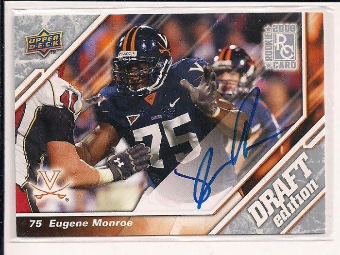 EUGENE MONROE JAGUARS 2009 UPPER DECK DRAFT EDITION ROOKIE AUTO CARD