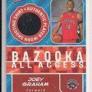 JOEY GRAHAM RAPTORS 2005-06 BAZOOKA ALL ACCESS SHOOTING SHIRT CARD