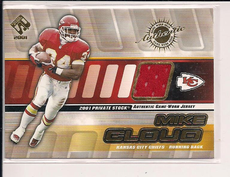 MIKE CLOUD CHIEFS 2001 PACIFIC PRIVATE STOCK JERSEY CARD