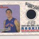 RAFAEL ARAUJO RAPTORS 2004-05 BOWMAN ROOKIE REGISTRATION JERSEY CARD