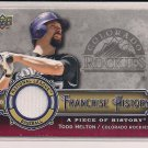 TODD HELTON ROCKIES 2009 UPPER DECK FRANCHISE HISTORY JERSEY CARD #'D 042/180!