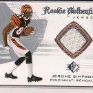 JEROME SIMPSON BENGALS 2008 SP ROOKIE AUTHENTICS JERSEY CARD