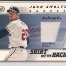 JOHN SMOLTZ BRAVES 2002 LEAF SHIRT OFF MY BACK JERSEY CARD