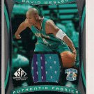DAVID WESLEY HORNETS 2004-05 SP AUTHENTIC FABRICS JERSEY CARD