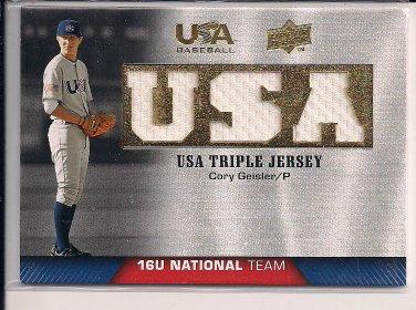 CORY GEISLER 2009 UPPER DECK USA BASEBALL TRIPLE JERSEY