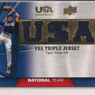 TYLER HOLT 2009 UPPER DECK USA BASEBALL TRIPLE JERSEY