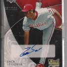 ZACK SEGOVIA PHILLIES 2007 EXQUISITE ROOKIE SIGNATURES