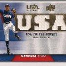 BRAD MILLER 2009 UD USA TRIPLE JERSEY CARD
