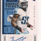 ZACH BROWN TITANS 2012 CONTENDERS ROOKIE TICKET AUTO
