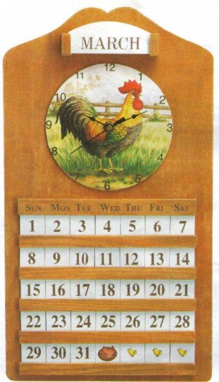 Rooster Calendar and Clock NEW ITEM!