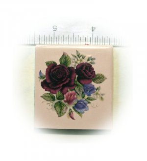 ~*BOUQUET OF ROSES on Pink*~~1 Mosaic Focal Tiles