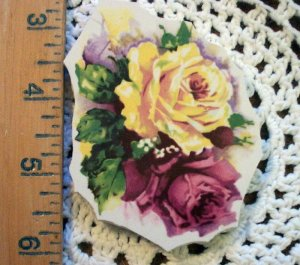 Mosaic Tiles *~Fabulous YELLOW & PINK ROSE ~1 LG. HM Kiln Fired
