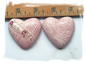 Mosaic Tiles~PINK HEART SET~ 2  Kiln Fired HM Clay