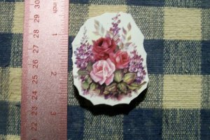 Mosaic Tiles*~ELEGANT ROSE BOUQUET* 1 Rnd HM Kiln Fired