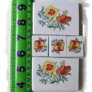 Orange~~ ASIAN FLOWER FOCALS~~5 Lg.  Mosaic Tiles