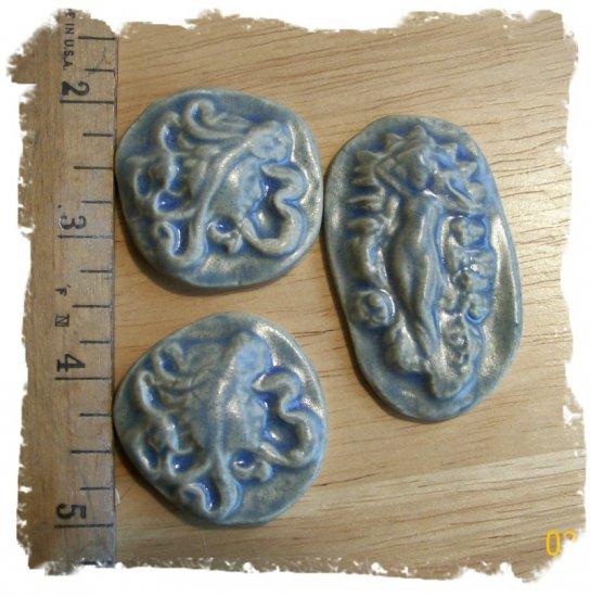 Mosaic Tiles~Lt Blue Stone GODDESSES~3  Kiln Fired HM