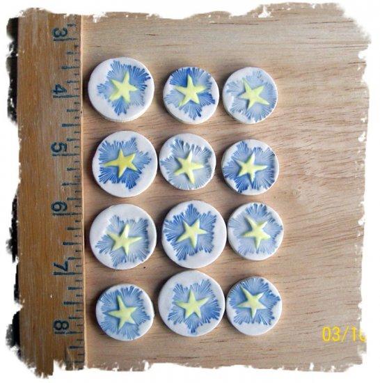 FUN Mosaic Tiles ~*MIDNIGHT STARS~12 HM Clay Kiln Fired