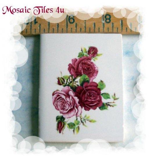~*Elegant*~Shaded ROSE BOUQUET*~ Focal Mosaic Tiles