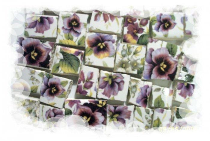 Gorgeous Purple ~VIOLET CHINTZ~  50+ Mosaic Tiles