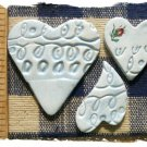 Mosaic Tiles ~BLUE HEARTS~3 Kiln Fired  Embossed Clay
