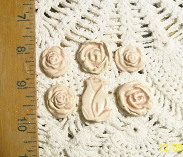 Mosaic Tiles ~SHABBY PINK ROSES ~6 HM Clay Focals