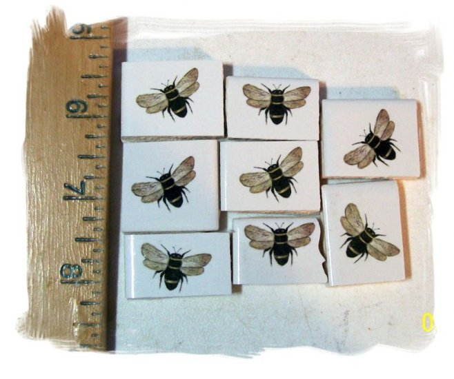 Mosaic Tiles~ *BUZZING BUMBLE BEES* ~8 Kiln Fired