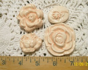 Mosaic Tiles ~CORAL ROSES~ 4 HM Beautiful Focals