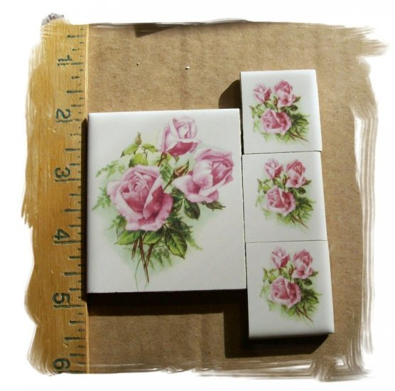Mosaic Tiles~*PRETTY PINK ROSE FOCALS*~ 4 HM Kiln Fired