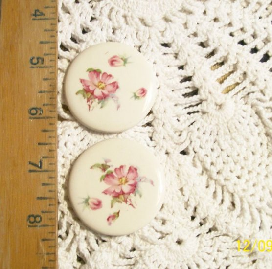 Mosaic Tiles ~DELICATE PINK ROSES~ 2 HM Pendant-Pin