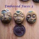 3 Pottery Embellishment*~EARTHTONE & BLUE FACES~Mosaic