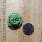 Pottery Embellishment ~*GREEN FACE*~w/beading holes