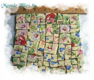 ~*FLOWERS ON YELLOW CHINTZ BKGD*~*  50+  Mosaic Tiles