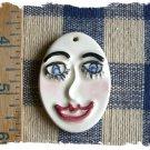 1 HM Pottery Pendant or Tile *~OVAL CRAZY FACE*~ Kiln
