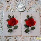 2 Mosaic Tiles ~*BEAUTIFUL RED ROSES*2 HM FOCALS CENTER