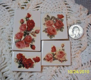 4 Mosaic Tiles ~*VINTAGE ROSES*~ HM FOCALS CENTER